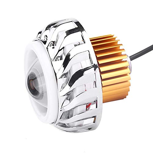Motorcycle LED koplamp, Aviation aluminium motorfiets projector lens Dual Angel Devil Eye koplamp super heldere LED koplamp cycloontype (blauw rood)