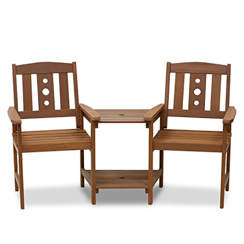 Furinno FG17488 Tioman Outdoor Hardwood Patio Furniture Jack and Jill Chair Set in Teak Oil, Natural