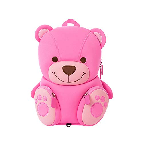Cute Personalized Children Pink Bear Mini Cartoon Niños Animal Backpack Girls, Bolsas Mochila para niños de 2-6 años Baby Girls Gifts para Nursery Preescolar Kindergarten Outdoor Bag with Reins