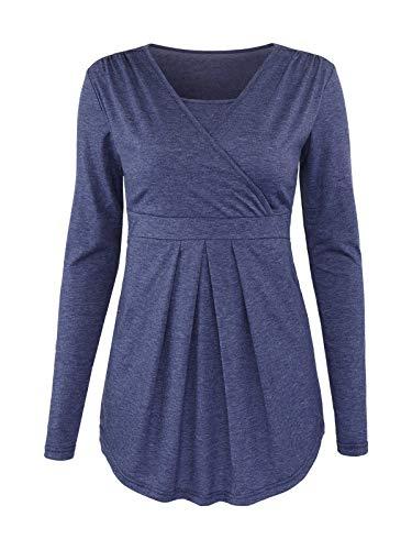 Glampunch Women's Maternity Nursing TopsLongSleeve Breastfeeding Tee Shirts Front Pleat Peplum Tunic Top(Navy,M)