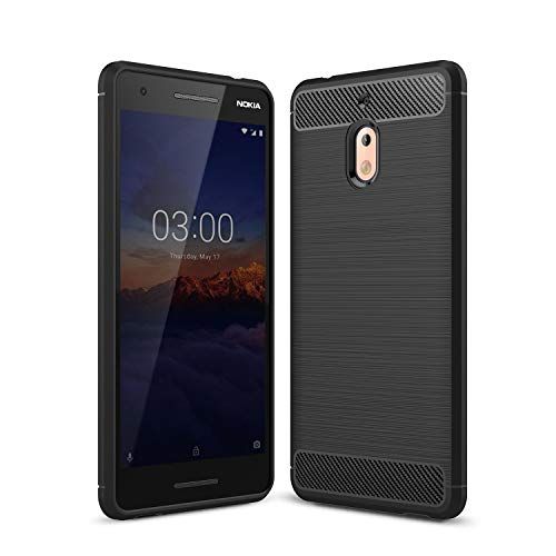 Cruzerlite Nokia 2.1 hülle, Flexible Slim Hülle with Leather Texture Grip and Shock Absorption TPU Cover Schutzhülle für Nokia 2.1 (Black)