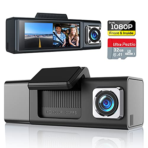 """Dual Dash Cam 1080P Front and 1080P Inside Cabin, Dash Camera for Cars with SD Card Included, Car Dash Camera Dashcam with 3.18"""" IPS Display, IR Night Vision, G-Sensor, Loop Recording for Taxi Drivers"""