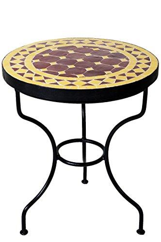 ORIGINAL Marokkanischer Mosaiktisch Beistelltisch ø 40cm rund | Runder Mosaik Gartentisch Mediterran | Handarbeit aus Marokko als Blumentisch für Balkon oder Garten | Marrakesch Bordeaux Gelb 40cm