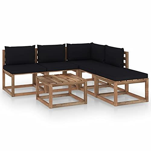 Susany Muebles de Palets Jardín 6 pzas Cojines Negro Sofá de Palets de Jardín Mobiliario Terraza Exterior Hogar Madera Pino Impregnado