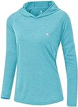 TBMPOY Womens UPF 50+ Sun Protection Hoodie Shirt Long Sleeve Fishing Hiking Outdoor UV Shirt Lightweight Light Blue M