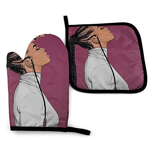 MayBlosom Juego de 2 manoplas y soportes para ollas de mujer negra africana, antideslizantes, guantes de cocina resistentes al calor avanzados para barbacoas y parrillas
