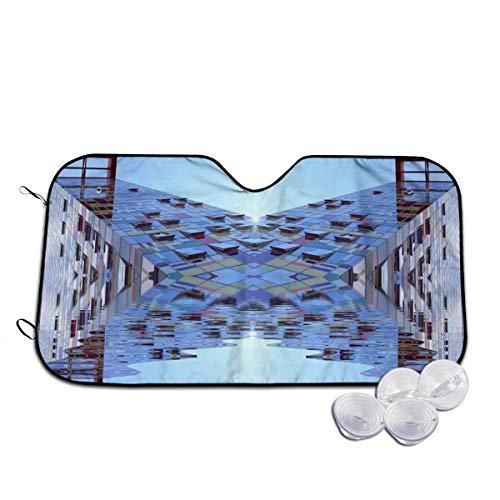 Rterss Architecture Deutschland Bauhaus Fassade Windschutzscheibe Sonnenblende Frontscheibe Glas verhindert das Aufheizen des Autos im Inneren personalisiert Gr. 85, weiß