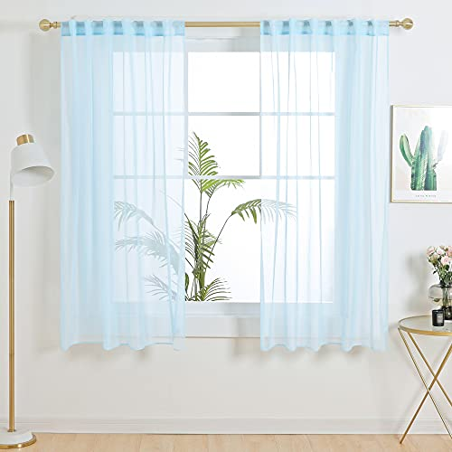 Deconovo Set of 2 Soft Sheer Curtains Light Filtering Privacy Protection Window Voiles for Bedroom Living Room, 1 Pair, Each Panel 52x63 in, Sky Blue