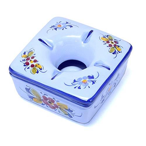 ポルトガル製 陶器 フタ付灰皿 フラワー柄 灰が散らない蓋付き アッシュトレイ 上品な 花柄 スクエアタイプ pfa-631bl 10x10x5cm