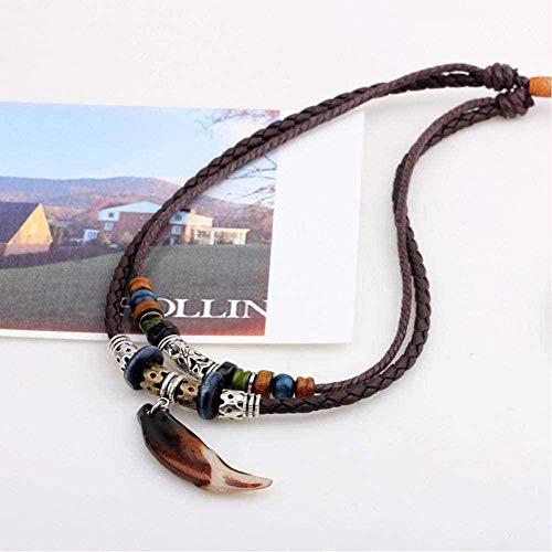 ZPPYMXGZ Co.,ltd Collar de Moda Vintage Tribal Lobo Diente Colgante Collar de Cuero Hombres Valientes Cuerda tibetana Cuentas Collares joyería