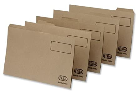 Elba 20812 - Carpeta con pestaña (tamaño folio, cartón de manila reciclado de 170 g/m², 100 unidades), color marrón