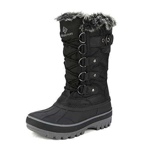 DREAM PAIRS Boys Girls Black Faux Fur Lined Insulated Waterproof Winter Snow Boots Kriver-1 Size 4 M US Big Kid