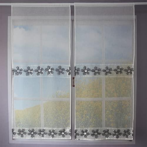Un paio di tende da cucina traslucide, tende da soggiorno con fiori lustrini, tende decorative in vetro, 60X150cm,Fiori grigi