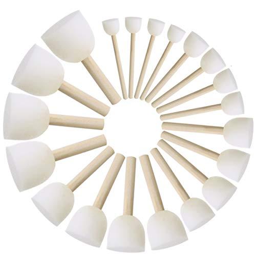 ULTNICE Cepillo de pintura redondo Cepillos de pintura para niños Esponjas redondas Juego de brochas Herramientas de pintura de bricolaje Paquete de 20