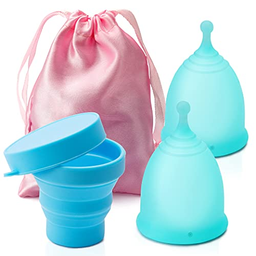 Menstrual Cup - Set of 2 Reusable Period Cup with 1 Sterilizing Cup,...