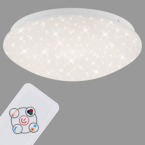 Briloner Leuchten - Lámpara LED de techo con mando a distancia, cambio de color, función de luz nocturna, intensidad regulable, metal, 10 W, color blanco