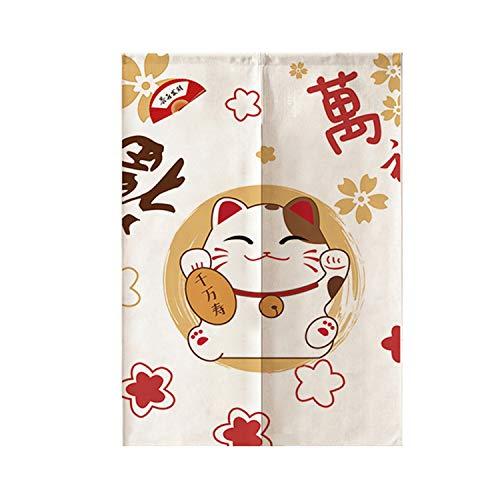 JH&MM Japanisch-Stil Dekorative Vorhänge Küche Restaurant Smoke-Proof Half-Height Partition Baumwolle und Leinen Gardinen,1,80 * 150