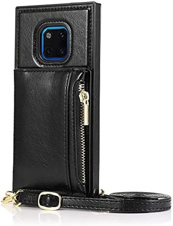 SLDiann Case for Huawei Mate 20 pro, Zipper Wallet Case with Credit Card Holder/Crossbody Long Lanyard, Shockproof Leather TPU Case Cover for Huawei Mate 20 pro (Color : Black)