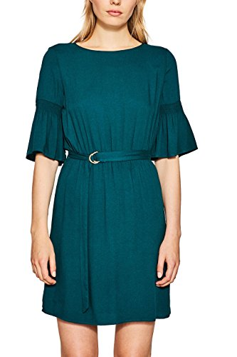 ESPRIT Damen 087EE1E010 Kleid, Grün (Dark Teal Green 375), 40