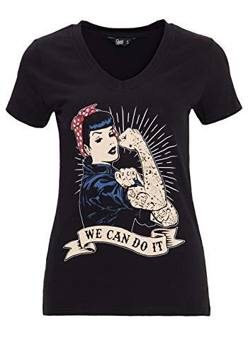 Queen Kerosin Damen Kurzarm T-Shirt Vintage Print We Can Do It V Ausschnitt Slim Fit We Can Do It