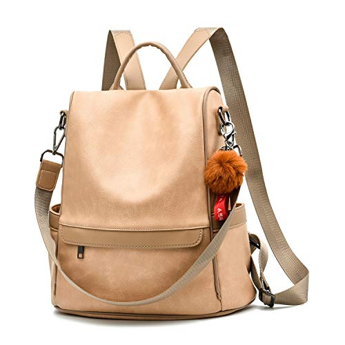 Women Backpack Purse PU Leather Anti-theft Casual Shoulder Bag Fashion Ladies Satchel Bags(Beige)