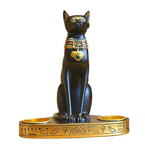 NLRHH Estatua de resina de la diosa del gato con portavelas para tienda, restaurante, sala de estar, estudio, decoración de oficina