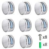 YUE QIN 8 pcs Clip para Espejo Abrazadera de Cristal para Espejo de Baño con Clip Vidrio para Montaje En Pared Redondo Multiusos,con Tacos y Tornillos