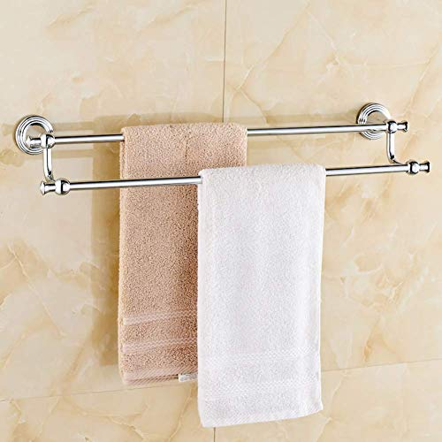 YUHT Handtuchstange Handtuchhalter,Badezimmer Minimalist Handtuchwärmer Badezimmer, Doppel Pol Handtuchhalter, Kupfer Handtuchwärmer Bad, Kupfer-Chrom-Handtuchhalter-A 40cm (16 Zoll)