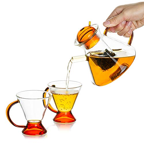 Glass Teapot Set with 2 Cups, Clear Glass Tea Pot for Stove Top with Removable Infuser, (500ML/17OZ) Decorative and Modern Tea Maker Microwave & Dishwasher Safe Home Kitchen Use