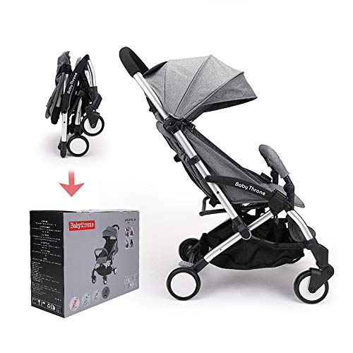 Passeggino Leggero Babythrone Pieghevole Passeggini Compatto da Viaggio fino a 15 kg Grigio
