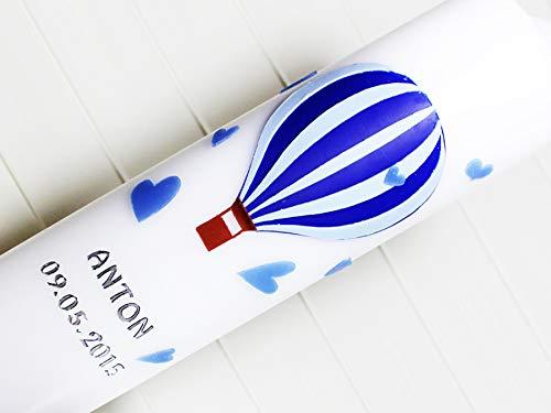 Taufkerze Jungen, Taufe, Heißluftballon, Herzen, Kommunionkerze, Kerzen, Wachs, handgemacht, blau, weiß, silber, 275x70mm, made in germany