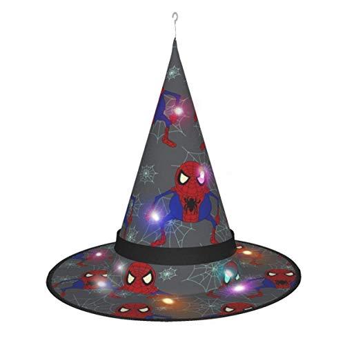 rouxf Decoraciones de Halloween Sombrero de Bruja, Disfraz de héroe araña Gremlin, Sombrero de Bruja Brillante Iluminado Colgante, Gorro Puntiagudo para Adultos y K