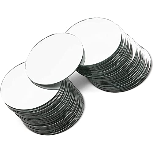 Round Mirror Tiles for Crafts (3 Inch, 50 Pack)