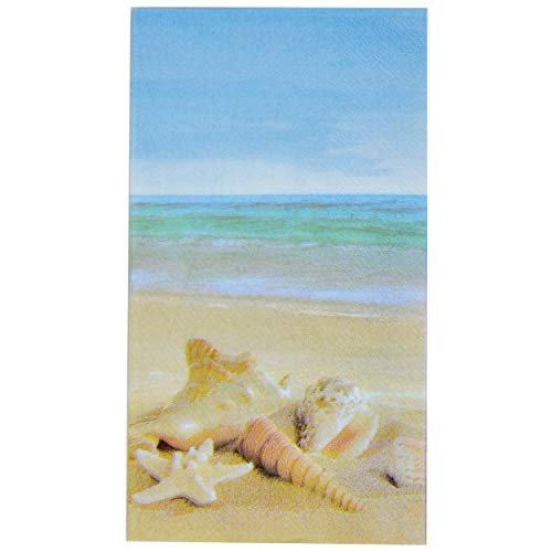 100 Nautical Beach Guest Napkins 3 Ply Disposable Paper Pack Coastal Seashell Starfish Sea Shore Summer Dinner Hand Napkin For Bathroom Hotel Gym Spa Party Wedding Bridal Baby Shower Decorative Towels