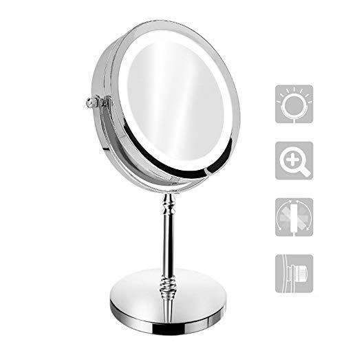 Luxvista Espejo Maquillaje con Luz LED, Doble cara 1x/10x Aumento 18 Luces LED 360° Rotación Redondo Cosmética Espejo luminoso portátil, para baño,Vanidad, Vestirse, Afeitarse, Viajar (Sin Batería)