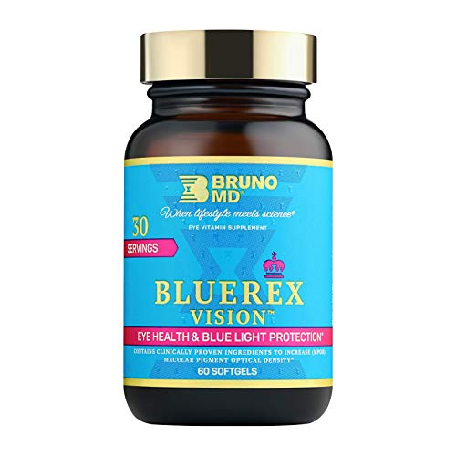 Bruno MD BlueRex Vision, Eye Health Supplement for Adults, Vitamin E and Bilberry Extracts, Antioxidant Supplement, Helps with Computer Vision Syndrome, Dry Eyes & Eye Health