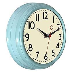 Lumuasky Retro Wall Clock 9.5 Inch Blue Kitchen 50's Vintage Design Round Silent Non Ticking Battery Operated Quality Quartz Clock (Robin Egg Blue)