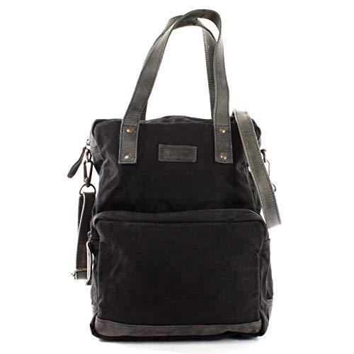 LECONI Rucksack & Umhängetasche in einem für Damen & Herren Retro Backpack Canvas + echtes Leder Bodybag DIN A4 Schultertasche 2in1 Freizeitrucksack 28x37x13cm LE1014-C, Schwarz / Grau, L