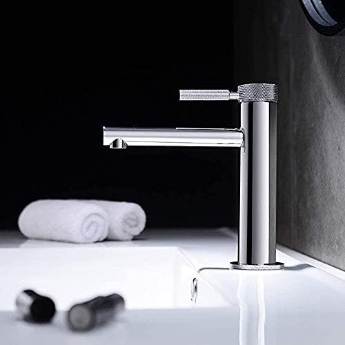 MLFPDXC-Grifo del grifo Lavabo minimalista del baño Grifo cilíndrico de cobre completo Ajuste de agua fría y caliente Grifo de un solo orificio (Color: Latón) (Color: Dorado) -Plata