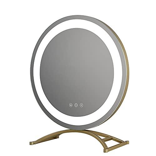 FAJ7G Espejo de tocador Grande de Escritorio, Espejo de Maquillaje LED con luz, Toque Inteligente, atenuación de luz de Tres Colores, Espejo de Alta definición
