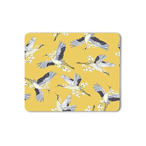 Moslion Crane Mouse Pad Japanese Birds Traditional Vintage Fabric Print Culture Kimono Floral Gaming Mouse Mat Non-Slip Rubber Base Thick Mousepad for Laptop Computer PC 9.5x7.9 Inch