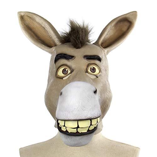 WWWL Mscara de Halloween divertida para adultos espeluznante divertido burro cabeza de caballo mscara de ltex Halloween Animal Cosplay Props Fiesta Festival Disfraz Mscara de bola Asshown