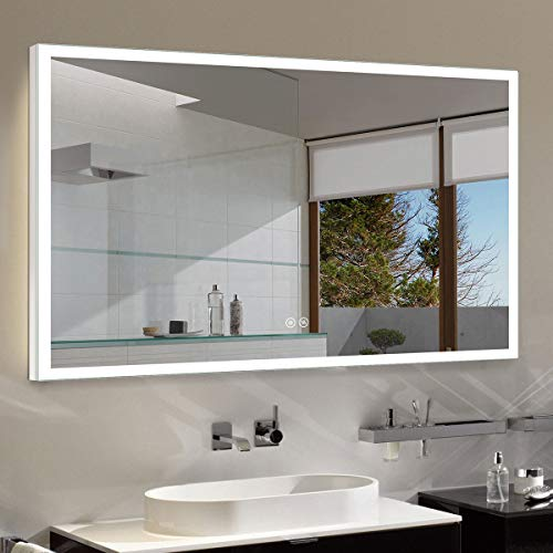 Dimmable LED Bathroom Mirror Antifog with Bluetooth, 55x36 In Wall Mounted Mirror with Lights Over Vanity, Vertical & Horizontal Mount Iluminated Washing Makeup Mirror with Smart Touch Button (N031-T)