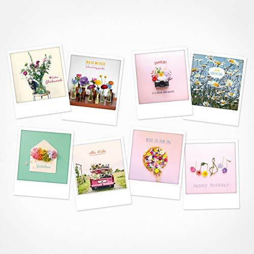 PICKMOTION Set mit 8 Foto-Post-Karten Grüße & Wünsche, Instagram-Fotografen-Geburtstag-Karten, handgemachte Grußkarten, lustige Sprüche & Motive, Tiere, Blumen