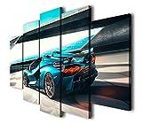 45Tdfc Impresión HD Pintura 5 Piezas Lamborgh Sports Car Cuadro En Lienzo, 200x100CM Cuadros Modernos Salón Decoracion De Pared Canvas Prints, Wall Art Modular Poster Mural Decorativo