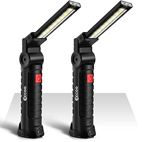 2 Pack Linterna Taller LED Recargable 1800mAh, Linterna de Trabajo 5 Modos 800 Lúmenes, Lámpara de Inspección con Base Magnética y Gancho para Emergencia, Taller, Automóviles (Grande)