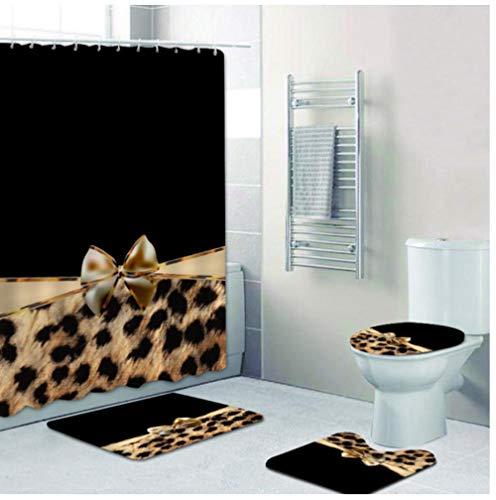 otppoc for Lovers 4Pcs Girly Pink Ribbon Leopard Print Shower Curtain and Bath Rugs Set Cheetah Bath Curtains for Bathroom Home Decor-2_150X180Cm