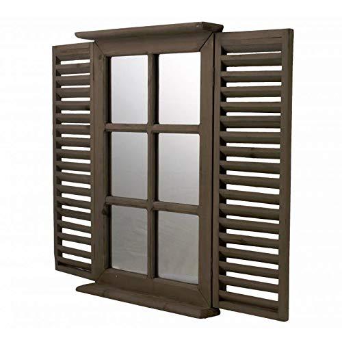 L'Héritier Du Temps Miroir Style Fenêtre à 2 Volets Persiennes en Bois Marron Rectangulaire Grande Glace 5x47x71cm