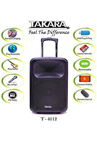 TAKARA Karaoke Speaker T-4112 Portable 12 Inch Trolley Speaker Multimedia Bluetooth Speaker, with Audio Recording, Rechargeable Battery, USB,TF, PA System with 2 UHF Wireless Mic Outdoor Party Speaker