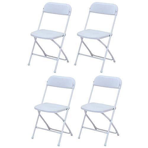 Stühle WX Xin Klappstühle Set Bankette, Parteien, Abschlussfeier, Sportverantstaltungen Schule Klassenzimmer Kunststoff Klappstühle Strandkörbe (Color : White, Size : 4 Chairs)